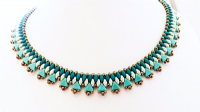 Egyptian Collar - Beadwork Necklace Kit with Kheops Par Puca and SuperDuo Beads (Teal Greens and Blues)